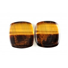 Tigers Eye 14mm Square Loose Gemstone Cabochon Pair