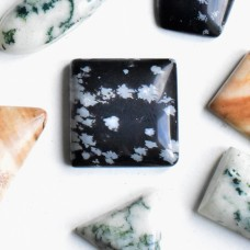 Snowflake Obsidian 15mm Square Gemstone Cabochon