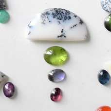 Gem Pack: Dendritic Opal, Peridot, Iolite and Pink Tourmaline Cabochons
