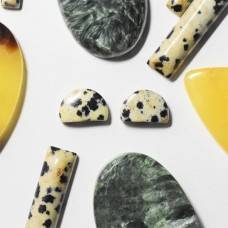 Dalmatian Jasper 10x7mm Semi-Circular Cabochon Pair