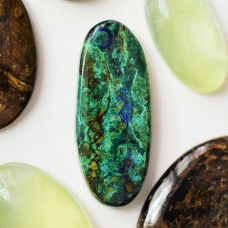 Azurite-Malachite-Chrysocolla 41x17mm Oval  Cabochon