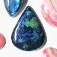 Azurite-Malachite-Chrysocolla 34x26mm Drop Cut Cabochon