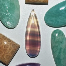 Fluorite 30x10mm Drop Cut Cabochon