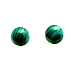 Malachite 12mm Round Gemstone Cabochon Pair