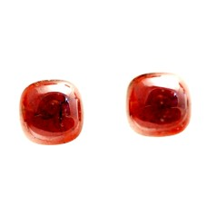 Garnet 10mm Square Cushion Cut Gemstone Cabochon Pair