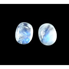 Rainbow Moonstone 9x7mm Oval Gemstone Cabochon Pair