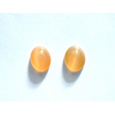 Peach Moonstone 9x7mm Oval Gemstone Cabochon Pair