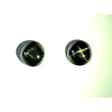 Black Star Diopside  5mm Round Gemstone Cabochon Pair