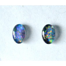 Black Opal 7x5mm Oval Triplet Gemstone Cabochon Pair