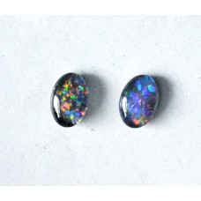Black Opal 6x4mm Oval Triplet Gemstone Cabochon Pair