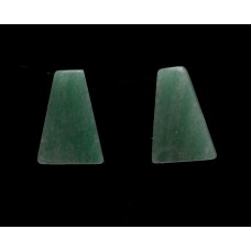 Green Aventurine 14x10mm Trapezium Cut Gemstone Cabochon Pair