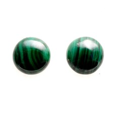 Malachite 10mm Round Loose Cabochon Pair
