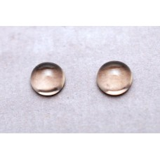 Smoky Quartz 7mm Round Gemstone Cabochon Pair