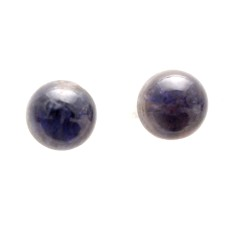 Iolite 8mm Round Gemstone Cabochon Pair