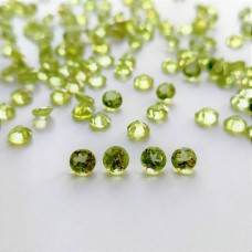 Peridot 4mm Round Faceted Gemstone x 4