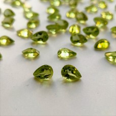 Peridot 6x4mm Drop Cut Faceted Gemstone x 4