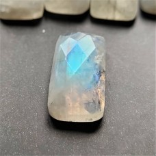 Rainbow Moonstone 20x10mm Rectangular Rose Cut Gemstone