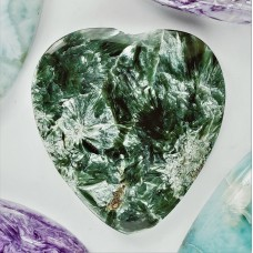 Seraphinite 34x32mm Heart Shaped Cabochon