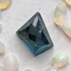 Blue Tourmaline 8.2x6.7mm Free Shape Rose Cut Gemstone