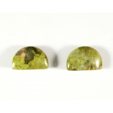 Unakite 10x6mm Semi Circular Gemstone Cabochon Pair