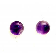 Amethyst 8mm Round Gemstone Cabochon Pair