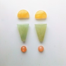 Gem Pack: Yellow Calcite, Green Chalcedony, Peach Moonstone