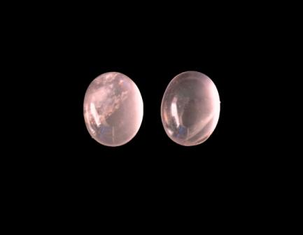 Rose Quartz Cabochon Pair